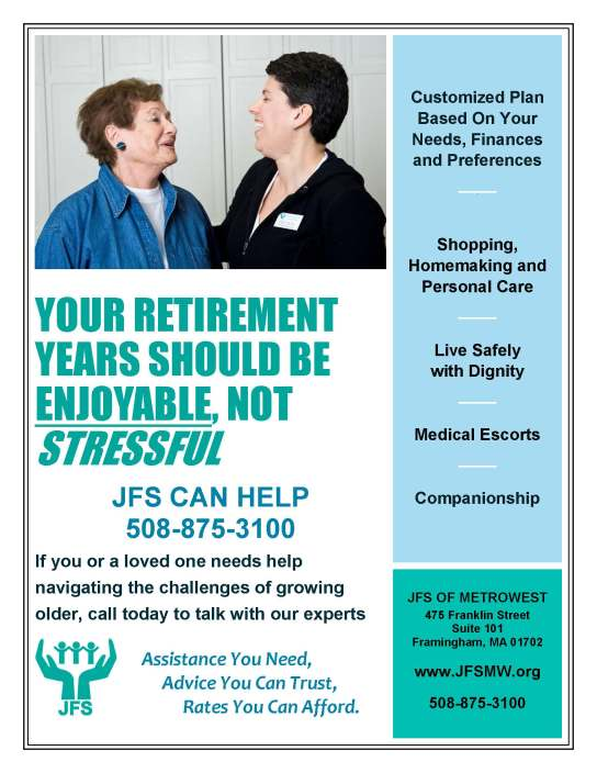 If you are caring for an aging parent, JFS can help - contact us today!