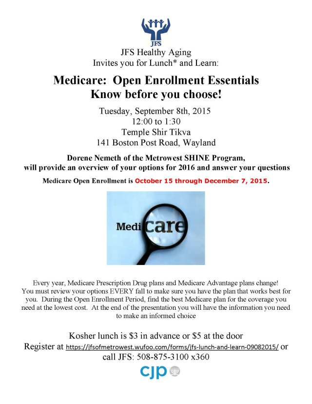 Medicare - Open Enrollment Essentials Know before you choose. Click to sign up!