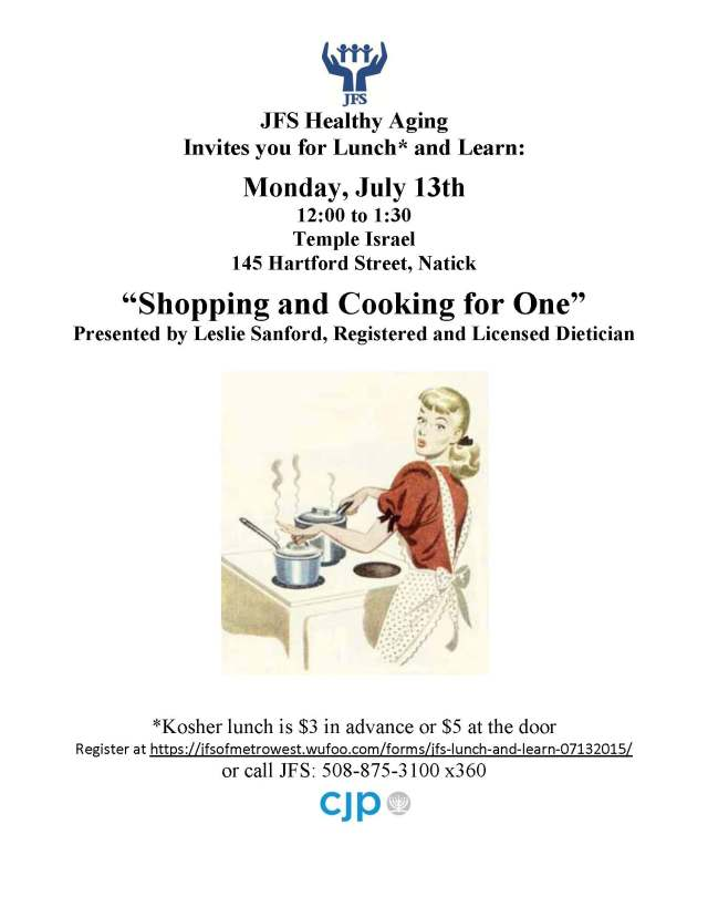 Lunch and Learn, July 13, 2015, Shopping and Cooking for One