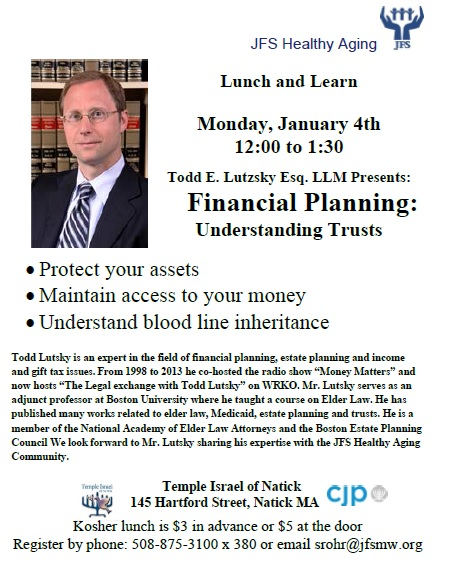 Attend a Lunch and Learn at Temple Israel of Natick on January 4, 2016