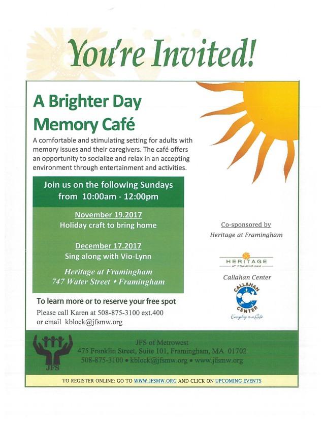 Memory Cafe flyer