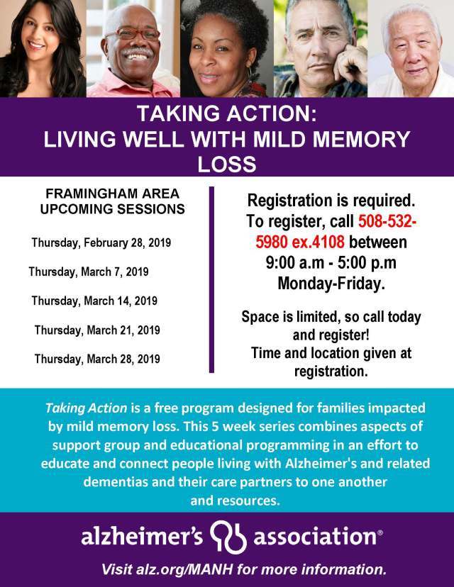 Framingham Feb.March 2019 -Taking Action Living with Mild Mem Loss